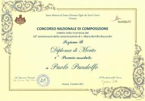 Concorso di composizione S. Maria Bertilla Diploma di Merito